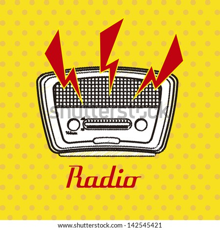 radio retro over dotted background vector illustration - stock vector