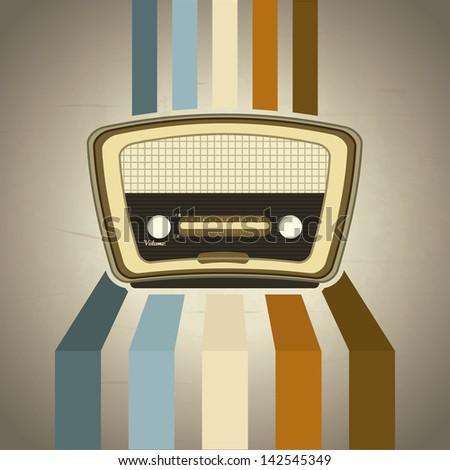 radio retro over grunge background vector illustration - stock vector