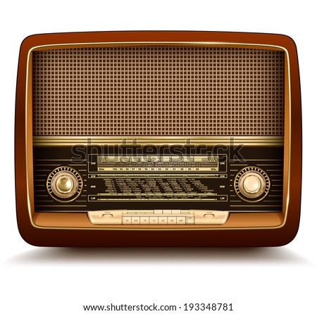 Radio retro, realistic vector illustration. - stock vector