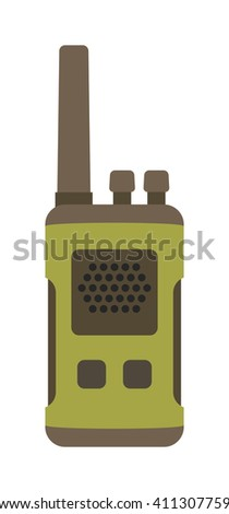 Radio set transceiver with antenna receiver and police emergency radio set talkie tool. Walkie-talkie radio electronic system. Portable radio set transceiver wave mobile security technology vector - stock vector