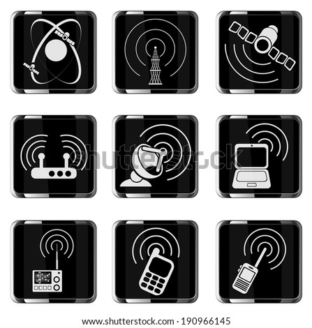 Radio signal vector icons