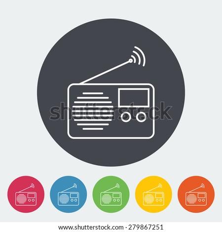 Radio. Single flat icon on the circle. Vector illustration. - stock vector