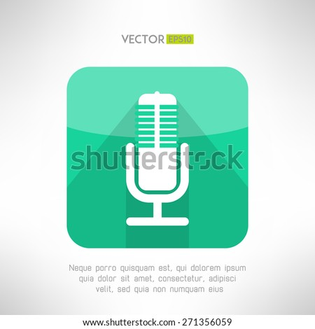 Radio station microphone icon in modern flat design. White and simple mic sign with long shadow. Vector illustration. - stock vector