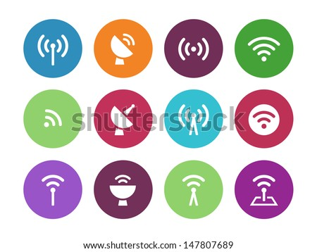 Radio Tower circle icons on white background. Wireless technology. Vector illustration. - stock vector