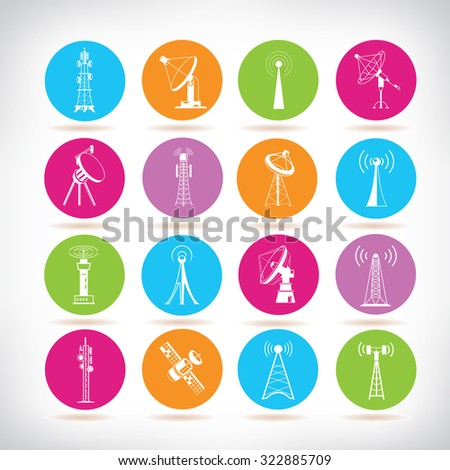 radio tower icons, communication tower icons - stock vector