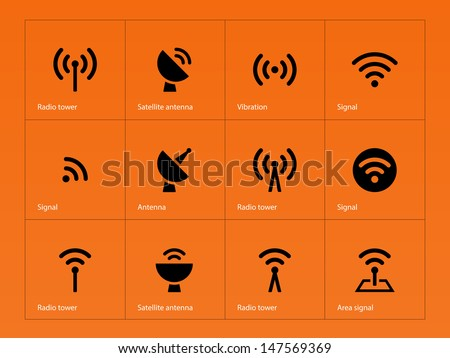Radio Tower icons on orange background. Wireless technology. Vector illustration. - stock vector