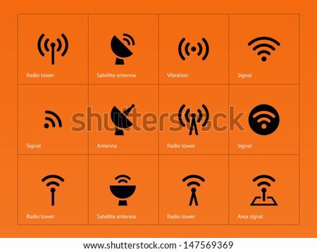 Radio Tower icons on orange background. Wireless technology. Vector illustration. - stock vector