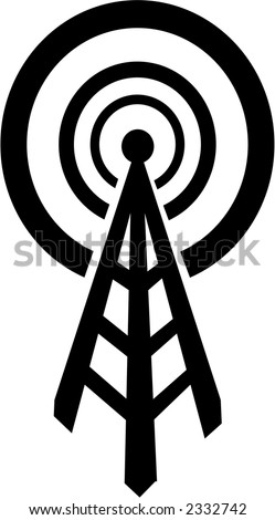 radio tower that broadcasts to the world-fully editable vector - stock vector