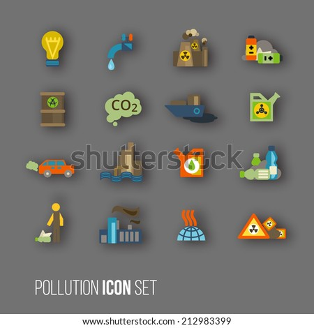 Radioactive and carbon dioxide toxic waste human activity waste air water pollution icons set isolated vector illustration - stock vector