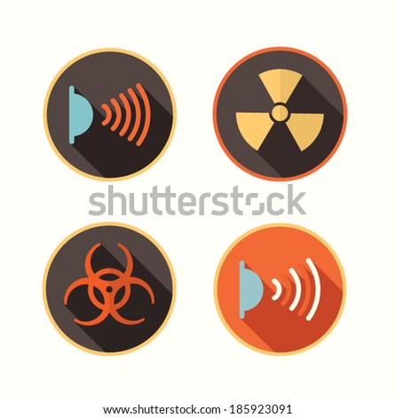 Radioactive, biohazard, infrared camera. flat style - stock vector