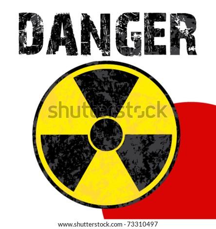 Radioactive danger zone on japanese flag. vector illustration. - stock vector