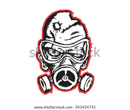 radioactive evil zombie logo icon vector character illustration