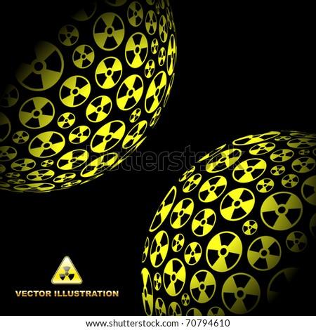 Radioactive globes. Vector illustration. - stock vector