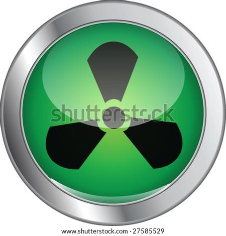 radioactive glossy button - stock vector