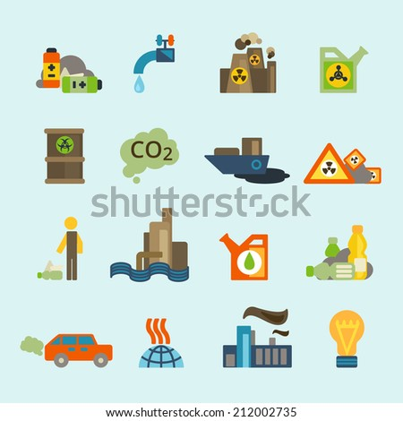 Radioactive nucleus waste and batteries disposal diffuse environment contamination symbols pictograms flat abstract collection isolated vector illustration - stock vector