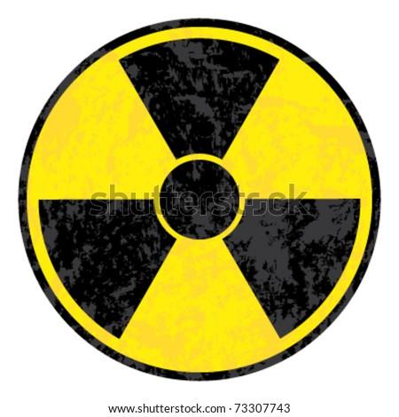 radioactive symbol. Vector grunge icon. - stock vector