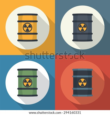 Radioactive waste in barrel round icon flat style with long shadows. - stock vector