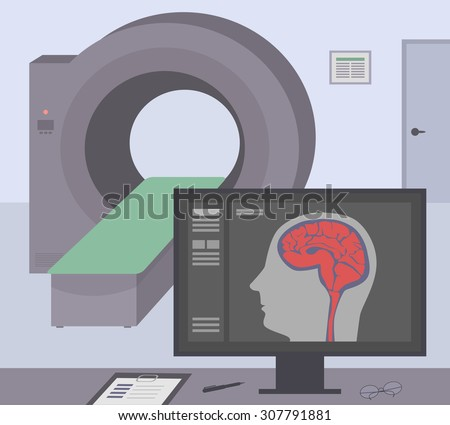 Radiologic room with a computer tomograph. Vector MRI / CT diagnostic scanner and monitor to scan the human brain on the screen. - stock vector