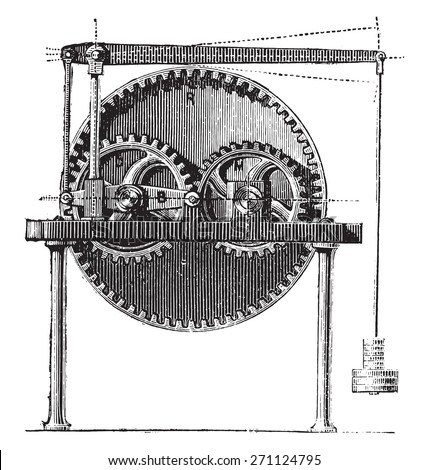 Raffard dynamometer, vintage engraved illustration. Industrial encyclopedia E.-O. Lami - 1875.  - stock vector
