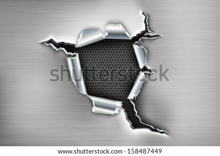 ragged hole in the metal - stock vector