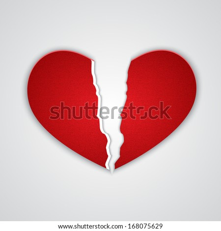 Ragged paper heart. EPS10 vector - stock vector