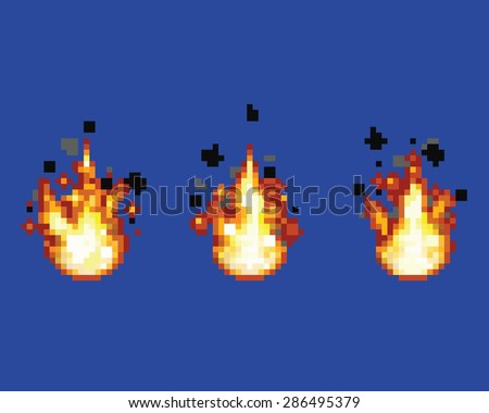 Raging flame - animation frames video game asset pixel art style vector layer illustration - stock vector