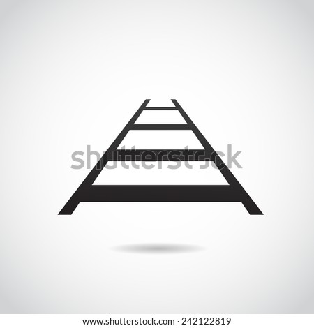 Rail icon isolated on white background. Vector illustration. - stock vector