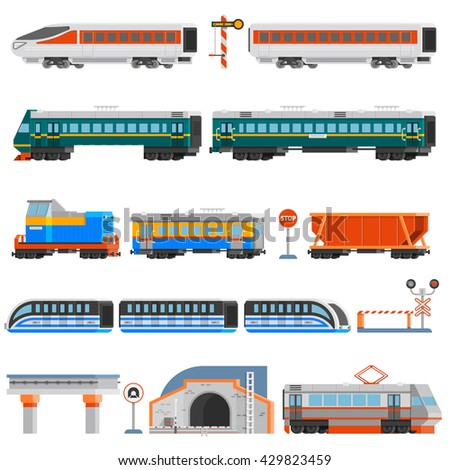 Rail transport flat colorful icons set of passenger and cargo wagons locomotives tram tunnel monorail isolated vector illustration - stock vector