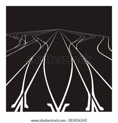 railroad junction illustration - stock vector
