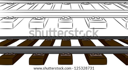Railroad tracks cartoon in color and black over isolated background - stock vector