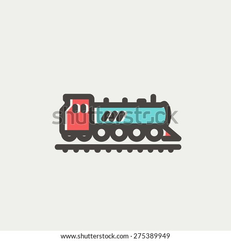 Railroad train icon thin line for web and mobile, modern minimalistic flat design. Vector icon with dark grey outline and offset colour on light grey background. - stock vector