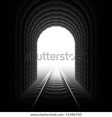 Railroad tunnel. Detailed vector. - stock vector