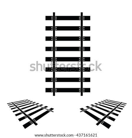 rails set black color illustration - stock vector