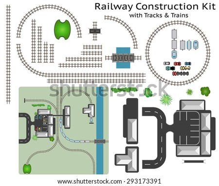 Railway and Station Building Construction Kit with Train - Build your own railway, grouped and layered, see my portfolio for other kits  - stock vector