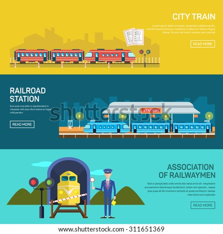 Railway design concept set with train station steward railroad passenger flat icons isolated vector illustration banners - stock vector