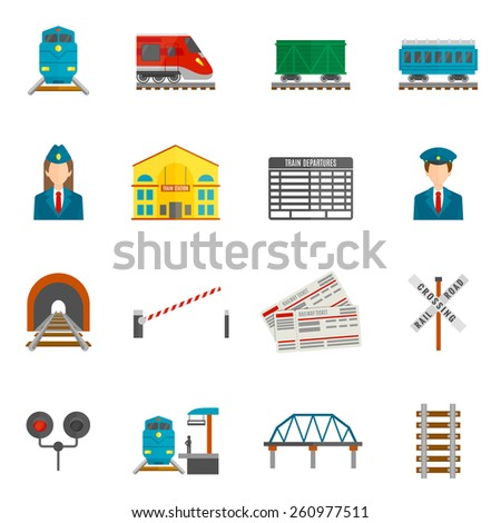 Railway flat icons set with train locomotive wagon conductor isolated vector illustration - stock vector