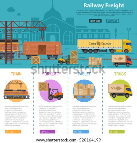 Railway Freight infographics with flat Icons Set like train, delivery, station, truck, rails and forklift vector illustration