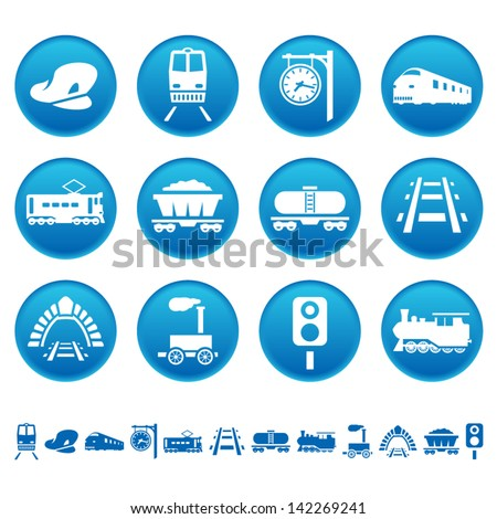 Railway icons - stock vector