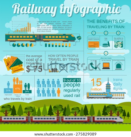 Railway infographic. Set elements for creating your own infographics. Vector illustration - stock vector