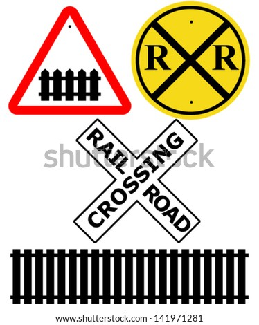 Railway Intersection signs + Rail track silhouette - stock vector