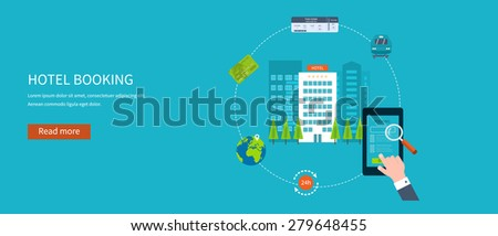 Railway station concept. Train on railway. Online ticket reservation. Hotel booking. Flat icons vector illustration. - stock vector