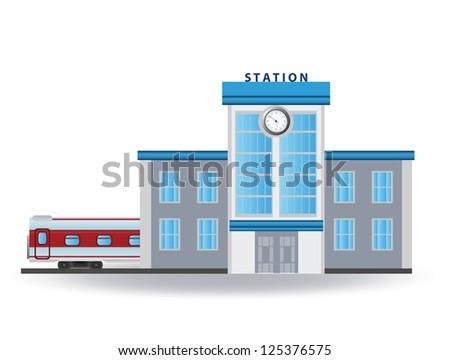 Railway station. Vector - stock vector