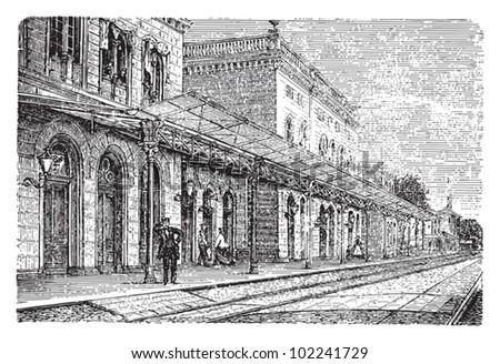 Railway station / vintage illustration from Brockhaus Konversations-Lexikon 1908 - stock vector