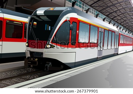 Railway station with modern train - stock vector