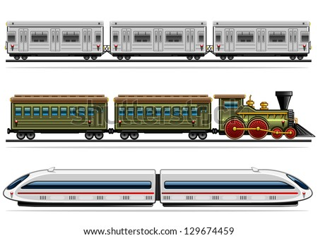 railway transport collection - stock vector