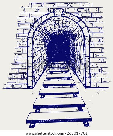 Railway tunnel. Doodle style - stock vector
