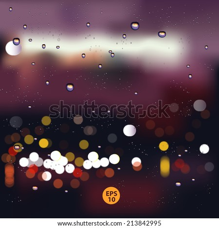 Rain and Bokeh, Rain drops on window with blurred traffic light ,rainy weather,rain vector - stock vector