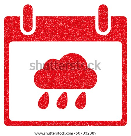 Rain Cloud Calendar Day grainy textured icon for overlay watermark stamps. Flat symbol with dirty texture. Dotted vector red ink rubber seal stamp with grunge design on a white background.