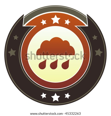 Rain cloud, storm, or trouble icon on round red and brown imperial vector button with star accents