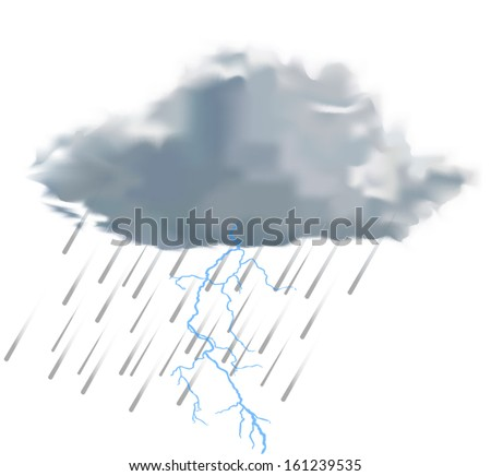 rain cloud with raindrops and lightning vector illustration on white background - stock vector